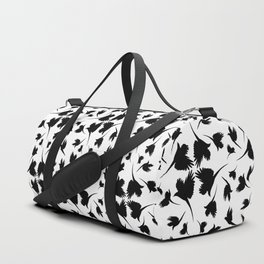 Monochrome pattern with imitation feathers. The texture of fabric from the shadows of birds. Duffle Bag