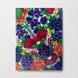 Blooming Embroidered Flowers Metal Print