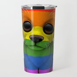 Cute Puppy Dog with Gay Pride Rainbow Flag Travel Mug