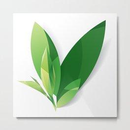 Paper carved green leaf and crystal leaf, eco concept, tea leaf Metal Print