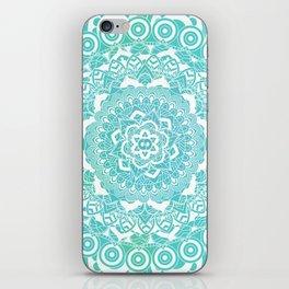 Sea Green Ombre, Indian Mandala Pattern iPhone Skin