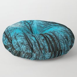 The sky is blue over the forest Floor Pillow
