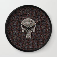 punisher Wall Clocks featuring PUNISHER -  WAR ZONE by Raisya