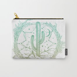 Desert Cactus Dreamcatcher Turquoise Coral Gradient on White Carry-All Pouch