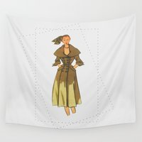 60s Wall Tapestries featuring 60s vintage woman by osu.busu