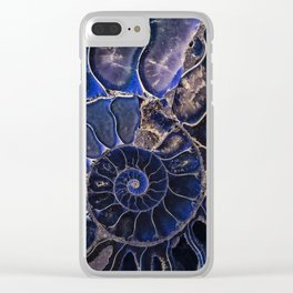 Earth Treasures - Ammonite in blue tones Clear iPhone Case