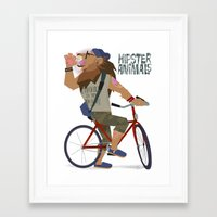 hipster lion Framed Art Prints featuring hipster animals - lion bike by Dyna Moe