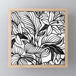White Black Floral Minimalist Framed Mini Art Print