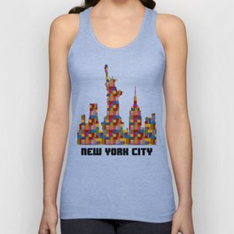 Statue of Liberty New York City Skyline Created With Lego Like Looking Blocks Unisex Tank Top