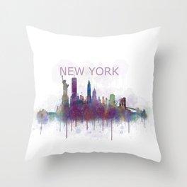 NY New York City Skyline v5 Throw Pillow