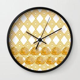 Yellow Peonies & Diamonds Wall Clock