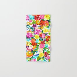 Bright Colorful Floral painting Hand & Bath Towel