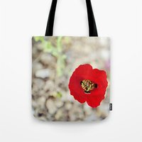 israel Tote Bags featuring Vibrant Red Poppy, Israel by Kim Lucian Photography
