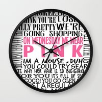 mean girls Wall Clocks featuring Mean Girls Quotes by TurquoisedHearts