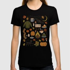 Autumn Nights Black Womens Fitted Tee SMALL