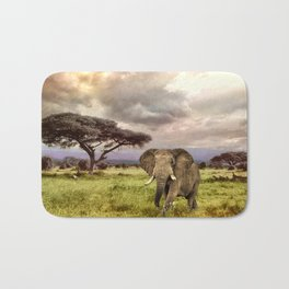 Elephant Landscape Collage Bath Mat