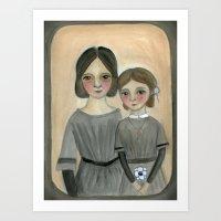 sisters Art Prints featuring Sisters by Debra Styer
