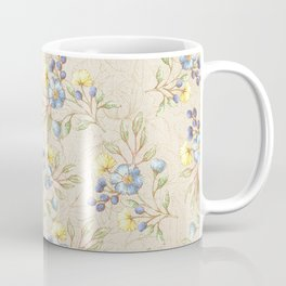 Vintage ivory linen blue yellow gold floral pattern Coffee Mug