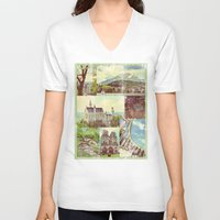 europe V-neck T-shirts featuring Vintage Europe by 4364