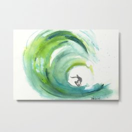 Wave with Surfer Metal Print