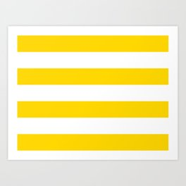 Sunshine Yellow and White Stripes Art Print