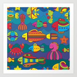 Stylize fantasy fishes under water Art Print