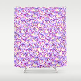 Wall of Eyes in Purple Shower Curtain