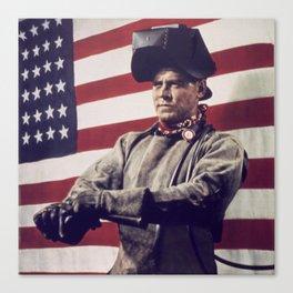Patriotic Vintage Welder Canvas Print