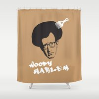 woody allen Shower Curtains featuring Woody Harlem by Ale Faria