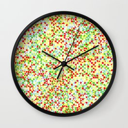grid in red and yellow Wall Clock