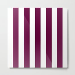 Tyrian purple - solid color - white vertical lines pattern Metal Print