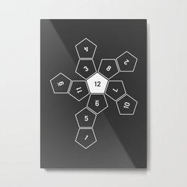 Grey Unrolled D12 Metal Print