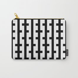 Black and White Bars Carry-All Pouch