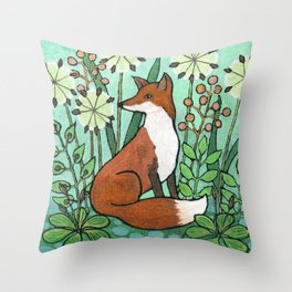 Fox among the seedheads Throw Pillow