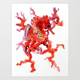 Seahorse red sea world art, corals, Coral red Scarlet Artwork Art Print