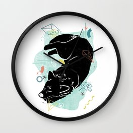 Dreaming wolf illustration Wall Clock