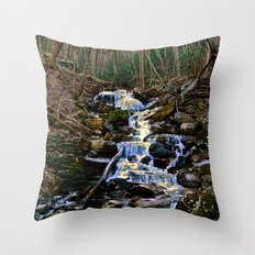 Mountain Waterfall Throw Pillow