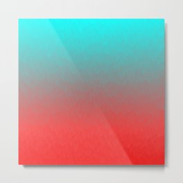 Cyan to red ombre flames Miami Sunset Metal Print