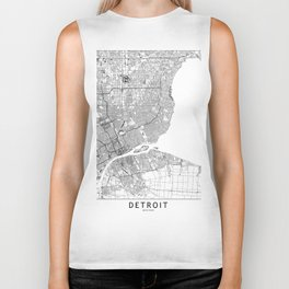 Detroit White Map Biker Tank
