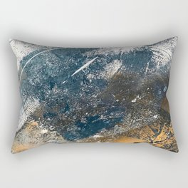 Wander [4]: a vibrant, colorful, abstract in blues, white, and gold Rectangular Pillow