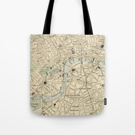 Vintage Map of London England (1901) Tote Bag