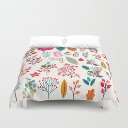 Autumn pink orange teal hand painted floral berries holly leaves Duvet Cover