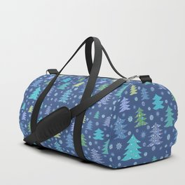 Winter Christmas Trees and Snowflakes in Purple, Blue and Green Duffle Bag