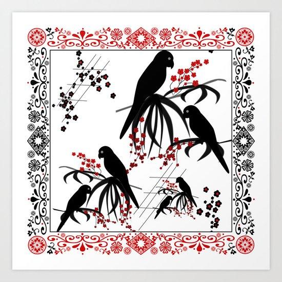 "A series of "" Favorite pillow ""Parrots 1 Art Print"