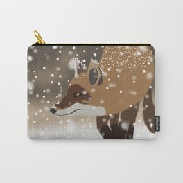 Sneaky smart fox in snowy forest winter snowflakes drawing Carry-All Pouch