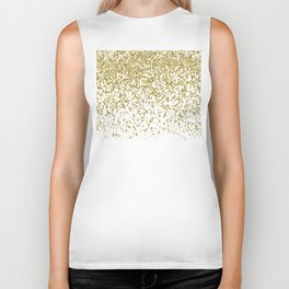 Sparkling gold glitter confetti on simple white background - Pattern Biker Tank
