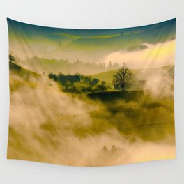 Foggy Parallax Hills With Trees Wall Tapestry
