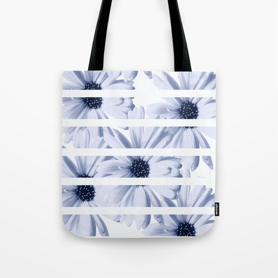 Light Blue Daisies with White Stripes Tote Bag