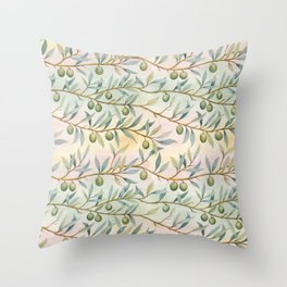 olive branches pattern Throw Pillow