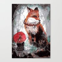 kitsune Canvas Prints featuring Kitsune by Carrion House